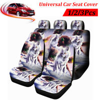 Wolf Animal Print Universal Black Car Seat Covers 9Pcs Full Set Protectors