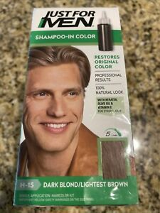 Just For Men Shampoo-In Color Gray Hair Coloring Dark Blond/Lightest Brown H-15