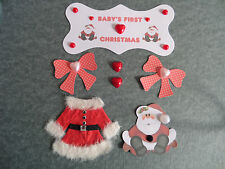 BABY'S FIRST CHRISTMAS CARD MAKING EMBELLISHMENTS *7 ITEMS* BABY 1st XMAS CARD