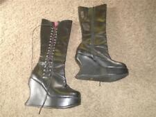 DEMONIA VINTAGE BRAVO-100 WEDGE SIDE LACE WOMEN'S KNEE HIGH BOOTS SIZE 11 GOTH