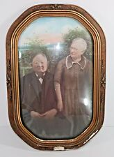 Vintage Convex Glass Picture Frame Antique Wood Humorous Husband Wife Photo Tint