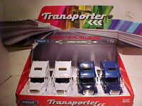 4 Pack Freightliner Columbia Semi Tractor Truck Rig Diecast 1:32 Welly 12 inch