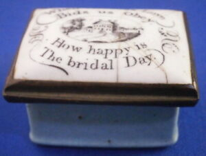 Antique 18thC Staffordshire Enamel Marriage Pill Box Bilston Battersea English