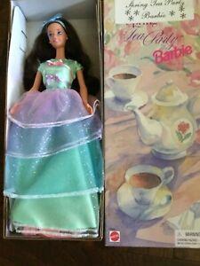 Vintage Spring Tea Party Barbie Doll Avon Third In Series 18658 Brunette 1997
