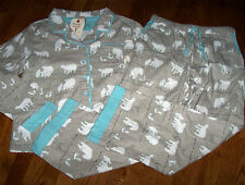 NWT Munki Munki Gray/Aqua Cotton FLANNEL Pajama Shirt/Pants Set POLAR BEARS XL
