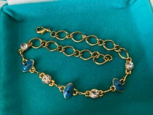 """New Yellow Gold Filled Blue Evil Eye & Clear CZ Chain Link Tennis Bracelet 8.5"""""""