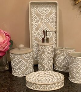 7 Pc Beige / White Carved Resin Medallion Bath Accessory Set - Beautiful!