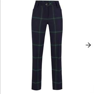 NWT Golfino Ladies Kitten Trousers Checked Stretch 5365726 575 Blue Sz 4 6 NEW