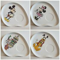 Disney Ceramic Snack Plates ~ Mickey Mouse Goofy Minnie Pluto ~  Set of 4