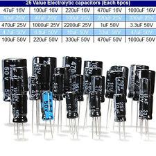125Pcs 1uF~2200uF 25 Valori Condensatori  Elettrolitici Assortimento Box Kit
