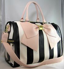 Betsey Johnson Weekender Travel Bag- Black and Cream Stripe with Pink Bow