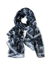 Printed Village Women's  Big Cat Scarf One Size Black
