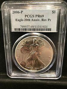 2006 P 20th Anniversary Reverse Proof American Silver Eagle PCGS Graded PR69