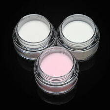 (Clear,Pink & White) 3Pc/Set Acrylic Powder Nail Art Tips Crystal Polymer Powder