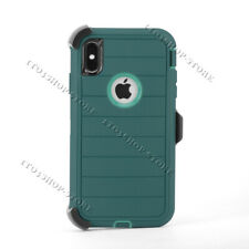 Defender Pro iPhone XS Max Hard Case w/Holster Belt Clip - Dark Jade Green/Teal