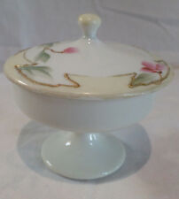 NIPPON TRINKET, CANDY PEDESTAL DISH SMALL W/ LID Hand painted cherry blossom