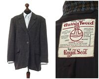 Women's HARRIS TWEED Blazer Coat Jacket Wool Checked Blue Beige Size US 16 UK 20