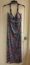 Women's size medium, Long Maxi Dress, Halter top, Padded Bra, Backless, paisley