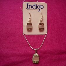 NEW Sterling Silver Mother of Pearl Inlay Earrings & Necklace Set from Indigo