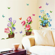 Beautiful Hand-painted Potted Wall Sticker Flower Vinyl Stickers  Home Decor Pip
