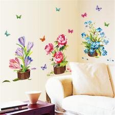Neu Schöne handbemalte Topf Wandaufkleber Blume Vinyl Aufkleber Home Decor WH