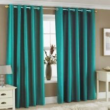 Luxury New Fully Lined Plain Faux Ultimate Silk Eyelet Curtain with Tie Backs