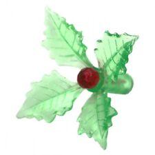 Green Holly Poinsettia Leaves CERAMIC CHRISTMAS TREE LIGHTS BULBS PEGS  70