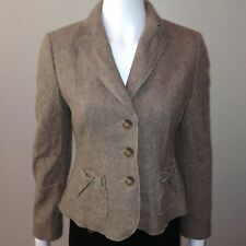Ann Taylor Blazer Size 4P Petite Womens Wool Brown Shoulder Pads Lined