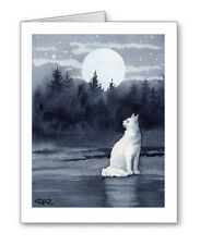 WHITE CAT MOON Set of 10 Note Cards With Envelopes