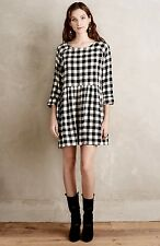 NEW Anthropologie Hoss black tan Checked Raw Silk Babydoll Dress 36 XS