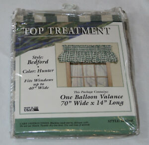 Top Treatment Hunter Green Plaid Bedford #1249 One Balloon Valance USA Made NEW