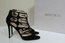 New sz 6 / 36 Jimmy Choo Ren Black Suede Ankle Open toe Caged Sandals Shoes