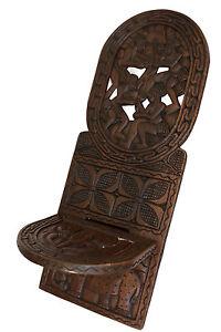Grande Chaise africaine à palabre Bois Elephant Personnages finement sculpté 2