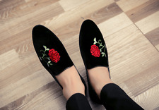 Fashion Men Embroidery Floral Casual Slip On Loafers Pointed Toe Clubwear Shoes