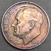 1946-S Roosevelt Dime 10C - Gem Uncirculated - Full Bands FB - Colorful Toning