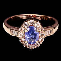 Unheated Oval Blue Tanzanite 7x5mm Pink Morganite Cz 925 Sterling Silver Ring