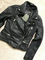 "ALL SAINTS WOMENS BLACK ""CATCH"" LEATHER BIKER JACKET COAT - UK 6 8 10 - NEW TAGS"