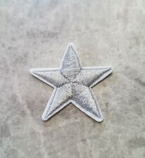 SILVER STAR PATCH XMAS IRON ON BADGE APPLIQUE