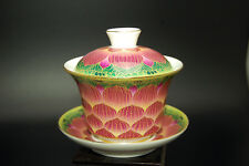 Chinese Porcelain Gaiwan Lid Saucer Coaster Bowl Gong Fu Tea Cup New
