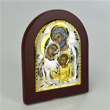 Religious Holy Family Saint Gold & Silver Plated & Wooden Standing Plaque
