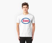 ESSO OIL GASOLINE VINTAGE RETRO WHITE T-Shirt S M L XL 2XL. BLACK Ready.arm