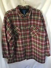Insulated Burgundy Plaid Lined Flannel Shirt - 3XLT Mens Quilted PKTS Towncraft