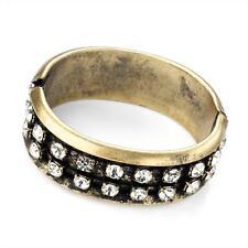 Magnífico aspecto antiguo-Pulido Oro Tono y cristal ancho brazalete de Bisagra De Metal