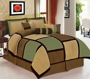7 Pieces Sage Brown & Beige Micro Suede Patchwork Comforter Bedding Set