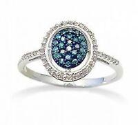10K White Gold Blue & White Diamond Ring Oval Halo Cluster Diamond Band .25ct