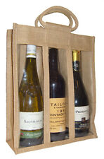TRIPLE WINE BOTTLE JUTE BAG with Window, Partition and Cotton Corded Handles -
