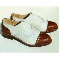 Chaussures richelieu à lacets en cuir véritable marron et blanc pour hommes fait