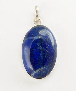 Natural Lapis-Lazuli Pendant 925 Silver Jewelry Gemstone Blue Oval Lapislazuli