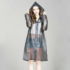 EVA Women's Girl Raincoat Long Rain Poncho Outdoor Hooded Rain Coat Hooded New