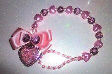 Shamballa coeurs roses occasion spéciale cristal bling bébé cadeau dummy clip chaîne